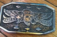 *RARE* 1975 Harley Davidson belt buckle skull with wings *RARE*