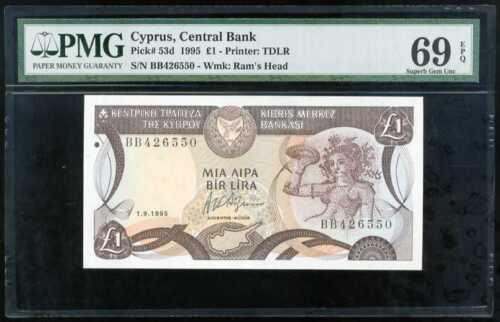Cyprus 1 Pound 1995 P-53d PMG 69 FINEST!!