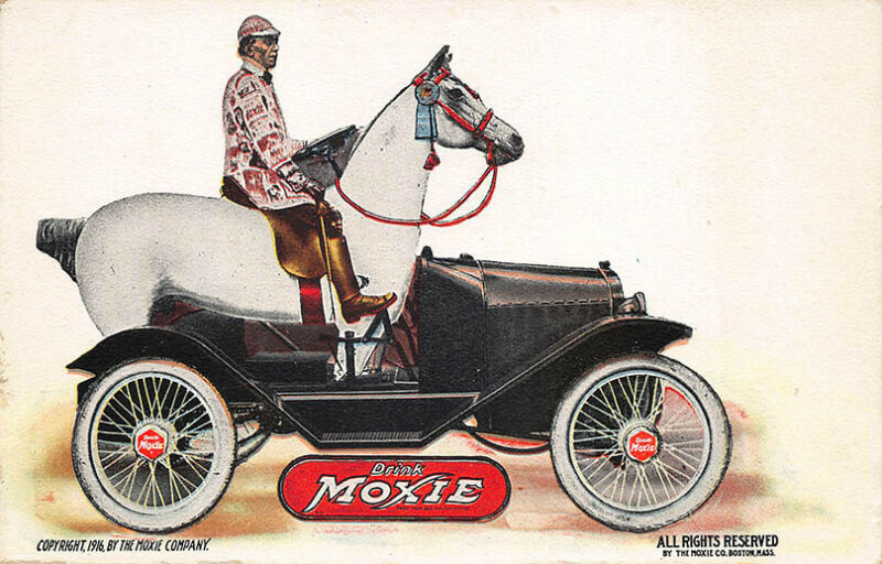 """""""Drink Moxie"""" Horse Shaped Automobile Advertising Postcard"""