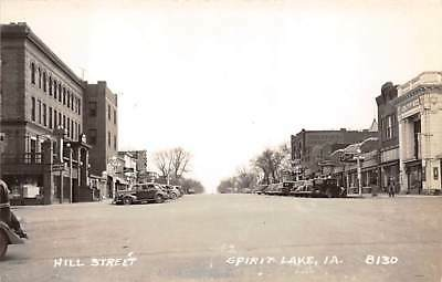 SPIRIT LAKE, IA ~ HILL STREET, STORES, CARS, REAL PHOTO PC ~ c 1940's