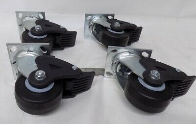 Lot Of 4 Colson Swivel Plate 4 X 2 Caster Wheels With Locking Mechanism