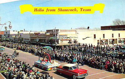Shamrock TX 1957 Chevrolet St Patricks Day Parade Store Fronts Postcard](St Patricks Day Store)