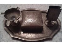 Old brass Indian smoker's set on brass tray - selling other items