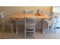 Beautiful solid pine rectangular dining table & 4 chairs, DELIVERY AVAILABLE