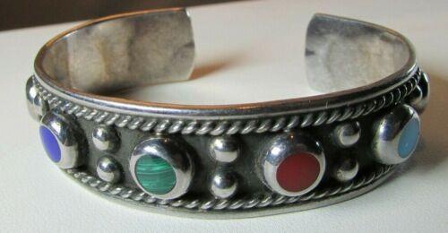 Vintage Sterling Silver Taxco TL-120 Large Multi Stone Cuff Bracelet UNISEX