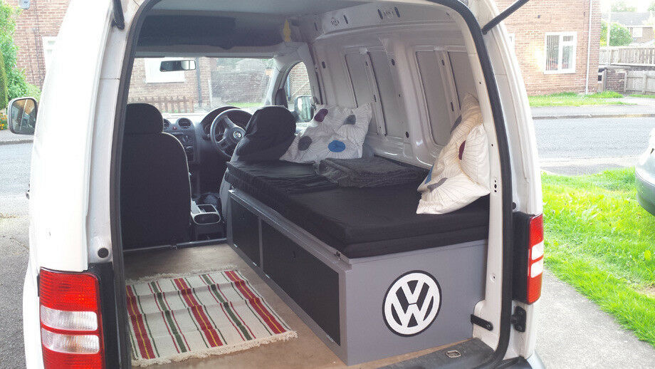 vw caddy fold out bed storage perfect for mini. Black Bedroom Furniture Sets. Home Design Ideas