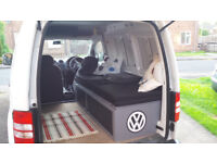 VW Caddy fold out bed / storage. Perfect for mini campervan. Custom made