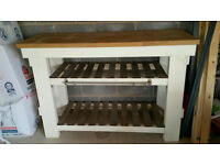 Details about Kitchen Island Butchers Block Handmade Shabby Chic with Stools Oak
