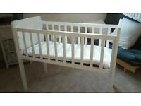 White Mothercare Crib with mattress