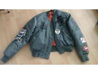 mens awesome ed hardy bomber jacket badged embroidered large