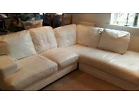 White DFS leather corner sofa
