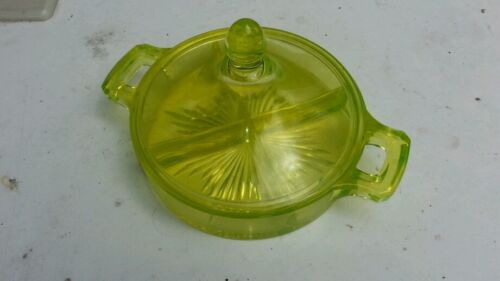 Vaseline glass yellow candy dish w/ lid BEAUTIFUL PEICE