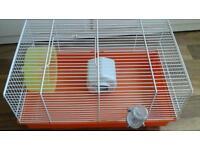 Hamster cage, bed, wheel, water bottle