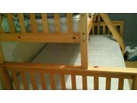 Pine bunk bed,double on bottom single on top