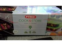 Pyrex cook & store ,oven to fridge glass containers.