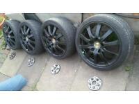 "17"" Porsche Alloys 5x130 PCD with 5x100 Adaptors Skoda VRS VW POLO GOLF MK3 MK4 SEAT IBIZA LEON MK1"