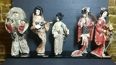 Vintage Lot of 5 Nishi Japanese Silk Barcade Dolls Lt Wear Various Types Poses