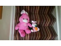 Mother and daughter bunny teddies