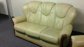 Cream Italian leather suite
