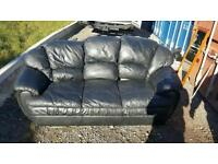 Black leather 3 str and chair