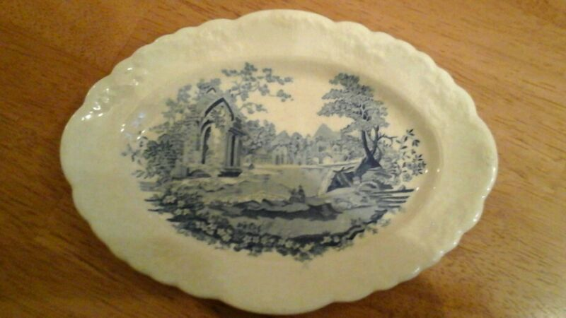 Rare Taylor Smith and Taylor English Abbey Blueware Oval Plate Excellent China