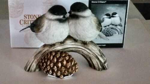 Black Capped Chickadees - Stone Critters - New in Original Box