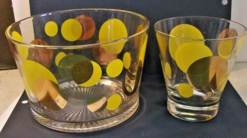 """Retro Mid-Century BARTLET COLLINS """"ECLIPSE"""" Glass Ice Bucket and glass"""