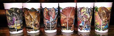 Jurassic Park McDonald's Cups Lot Complete Set of 6 Coca Cola 1992