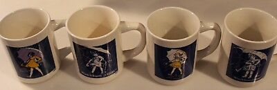 4 DIFFERENT VINTAGE POTTERY MORTON SALT COFFEE CUPS OR MUGS ADVERTISING