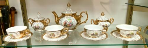 Beautiful 12-piece Bavarian Gold and White Tea Set