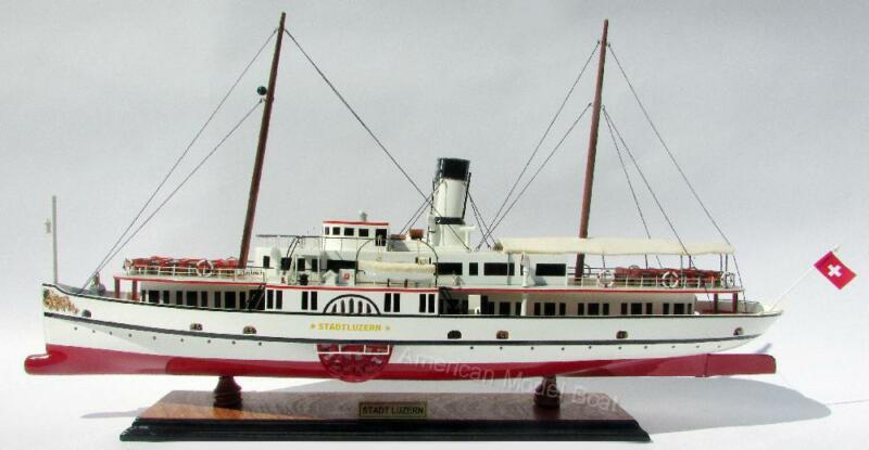 "Paddle Steamship Stadt Luzern Model Ship 29"" - Built Wooden Model New"