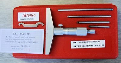 Engineers Depth Micrometer 0-100 mm (Ref: DM0100) From Chronos