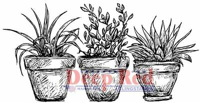 Deep Red Rubber Stamp Potted Plants Trio, Botanical Garden Theme