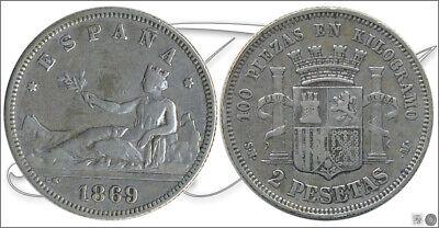 España 2 pesetas 1869 (*18*69) SNM Ag MBC / VF Gobierno Provisional     , usado segunda mano  Barcelona