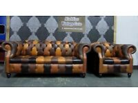NEW Chesterfield Suite 3 Seater Sofa & Club Chair in Brown Leather Patchwork - UK Delivery