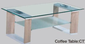 Slim Stylish Wood & Toughened Smoked & Clear Glass Coffee Table