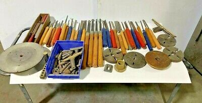 Large Lot Wood Lathe Carving Knife Lathe Chisel Set Accessories Chuck Adaptors