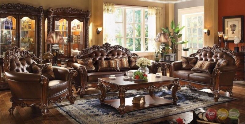 Vendome Victorian 6pc Living Room Sofa Set In Rich Traditional Brown Cherry