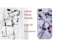 2 for 7£ Luxury Glossy Granite Marble Soft TPU iPhone 7 Case Back Cover 2018