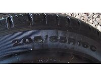 SET OF 4, 205/65R16C INFLATED TYRES ON WHEELS.