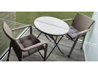 Garden Bistro Rattan Weave Set with Cover and Cushions
