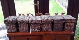 6 Wicker storage boxes, excellent condition