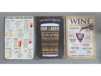 3 x beer,wine,cocktails signs suit mancave/home bar £12