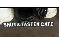 Cast iron old time vintage classic garden signs