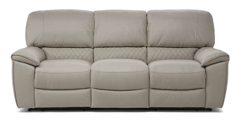 Luxury Clara 3+2 Seater Reclining Sofa in Creme Italian Leather Free Home Setup & Delivery