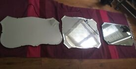 Beautiful Art Deco vintage frameless bevelled mirrors (whole set or sold individually)