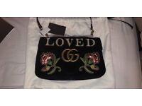 Brand New Gucci 'Loved' Embroidered Matelassé Velvet Bag