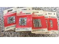 """10 PAIRS OF CHROMED HINGES 38mm 1.5"""""""