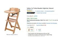 . Safety 1st Timba Wooden Highchair, Natural. New