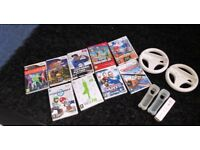 Nintendo Wii games with one controller, two kart holders and controller covers